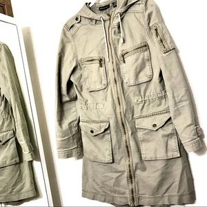 No Boundaries Olive Green Trench Military Jacket